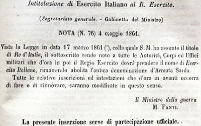 NASCITA DELL'ESERCITO ITALIANO