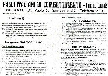 IL PROGRAMMA DI SAN SEPOLCRO. FASCI DI COMBATTIMENTO. 1919