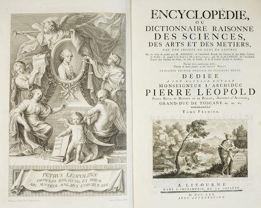 L'ENCICLOPEDIA o Dizionario ragionato delle scienze, delle arti e dei mestieri